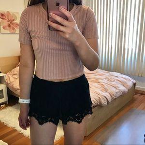 Express Black Lace Shorts